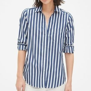 Gap Shirt Sz L Fitted Boyfriend Stripe Chambray